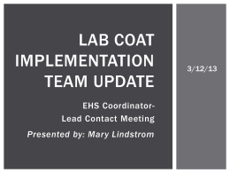 Lab Coat implementation Team update - EHS