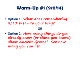 Warm-Ups Greece & Rome - Mrs. Silverman: Social Studies