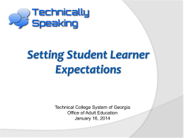 Setting Student Learner Expectations - galis