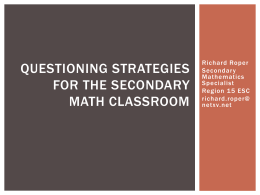 Questioning Strategies for the Secondary Classroom