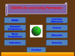 ASKING for and Giving Permission