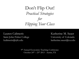Don`t Flip Out_Practical Strategies for Flipping Your Class_Calimeris