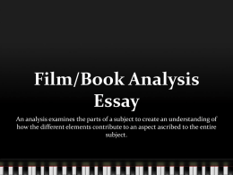 Film/Book Analysis Essay