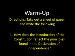 Warm-Up - United States History