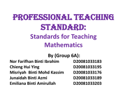 Standards for Teaching Mathematics