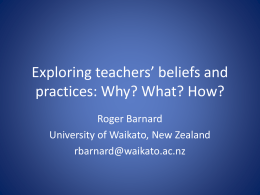 Exploring teachers beliefs 19 Oct 2011
