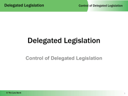 3 Control of Delegated Legislation