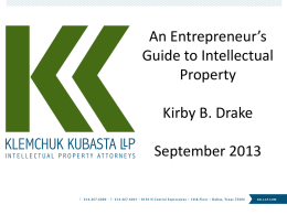An Entrepreneur`s Guide to Intellectual Property