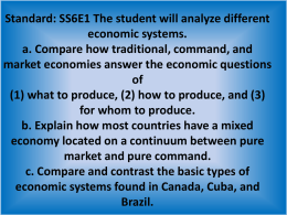 SS6E1 The student will analyze different economic systems. a