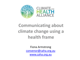 Fiona Armstrong – Communicating about climate using a health