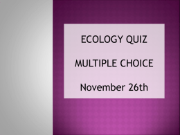 ecology quiz - HIS IB Biology 2011-2013
