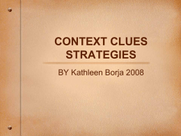CONTEXT CLUES STRATEGIES - San Elijo Middle School