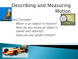 Describing and Measuring Motion