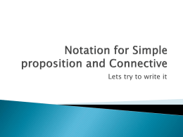 Notation for Simple proposition and Connective