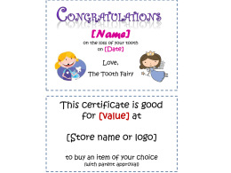 Tooth Fairy Certificate and Prize Template
