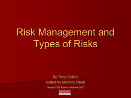 Risk Management and Types of Risks