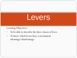Levers - PE Course Specification