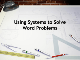 Systems Word Problems Powerpoint