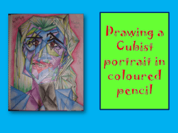 Drawing a Cubist portrait in coloured pencil