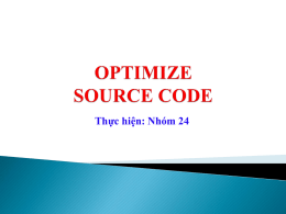 Optimize Source Code