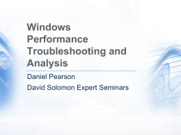 Windows Performance Troubleshooting and