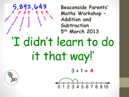 Parents` Workshop - Addition and Subtraction