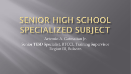 SENIOR HIGH SCHOOL SPECIALIZED SUBJECT