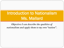 Introduction to Nationalism