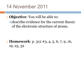 Unit 4 Electronic Structure of Atoms