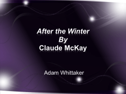 After the Winter By Claude McKay - mholtz