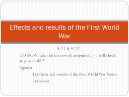 WWI Effects and results of the First World War