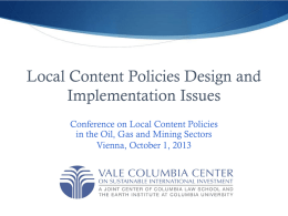 Local Content Policies Design and Implementation
