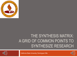 The Synthesis Matrix: A Grid of Common Points to Synthes