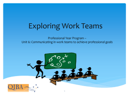 Communicating in Work Teams to achieve professional goals