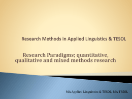 Paradigms & Qual Research