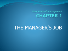 1. The Manager`s Job.