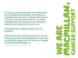 presentation template - Macmillan Cancer Support