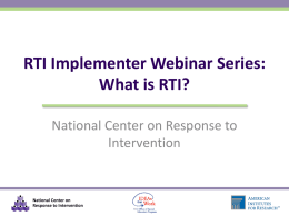 PowerPoint Slides - National Center on Response to Intervention