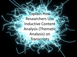 Explain How Researchers Use Inductive Content Analysis (Thematic
