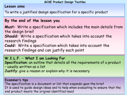 Specification - the Redhill Academy