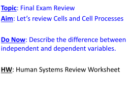 Cells and Cell Processes Final Review