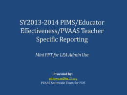 PowerPoint - Introduction to PVAAS Teacher Reporting