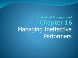 16. Managing Ineffective Performers.