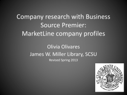 Company Research with Business Source Premier