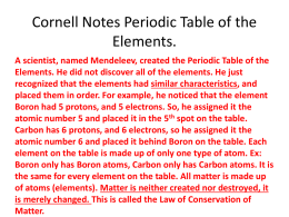 Cornell Notes Periodic Table of the Elements