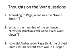 Thoughts on the War questions - Mr. Smith`s United States History
