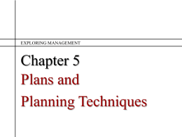 Ch 5 Plans and Planning Techniques
