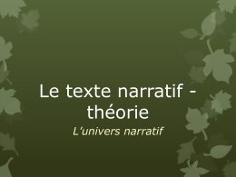 L`univers narratif - Invitation au voyage