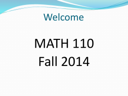 Math 110 Fall 2014 Orientation