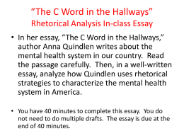*The C Word in the Hallways* Rhetorical Analysis In